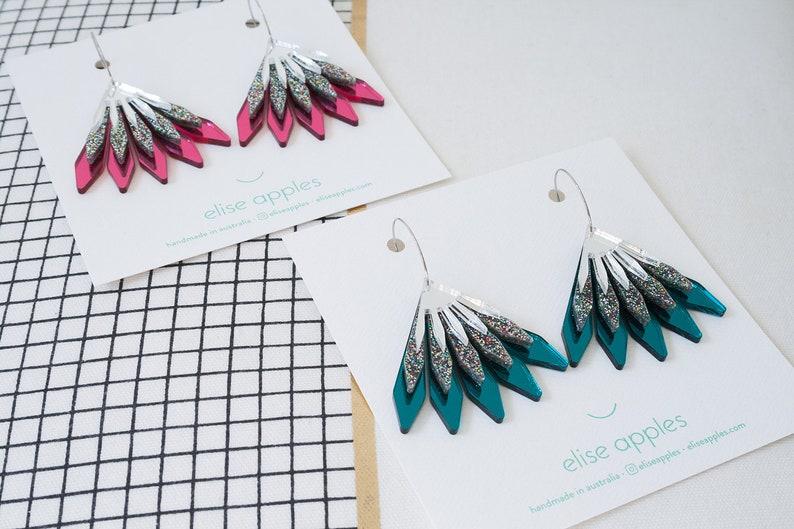 In bloom dangle / drop hoop earrings  Confetti glitter and image 0