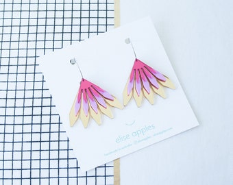 In bloom dangle / drop hoop earrings | Gold mirror, sour grape and pink mirror | Layered laser cut acrylic | Handmade
