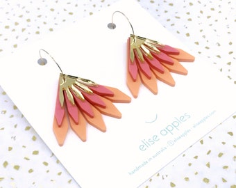 In bloom dangle / drop hoop earrings | Orange, pink and gold | Layered laser cut acrylic | Handmade