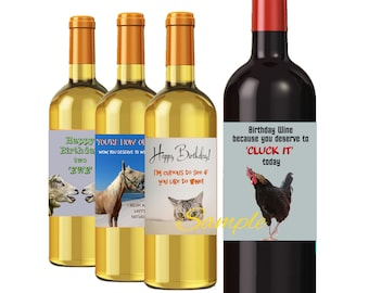 Cat Birthday Wine Labels Set Of 4 Funny Cat Lover Labels Etsy