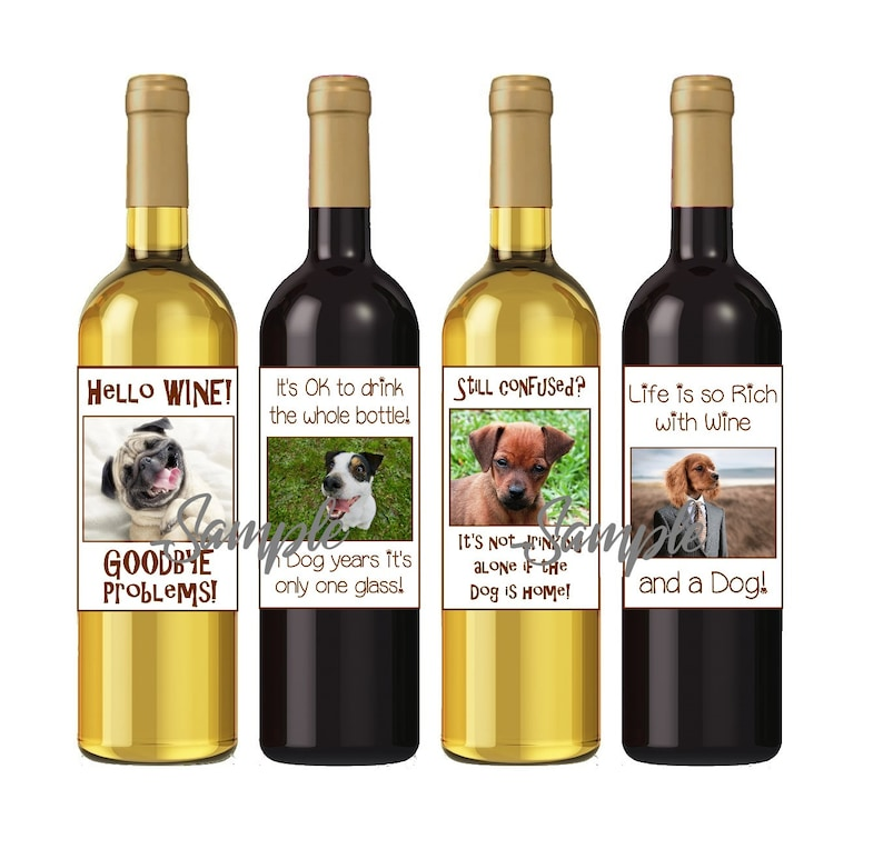 Fun crafty ideas!!! Funny DOG Wine Labels Easy DIY printable files Dog gifts INSTANT download