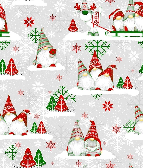 Gnomes Fabric,Christmas Cotton Fabric By The Yard,Scandinavian Fabric,Christmas Fabric,Nordic Gnome Fabric,Scandinavian Gnome Fabric