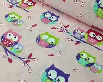 Owls cotton Fabric, Owls on Tree Branches Owl print cotton fabric by the yard, pastel fabric,  beige fabric, baby fabric,  organic cotton