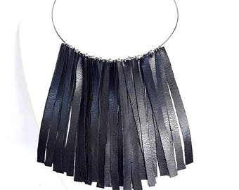 faux leather necklace, necklace black, fringed necklace, choker black