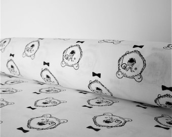 Coupon bear black and white, 50 x 50 cm, fabric cotton
