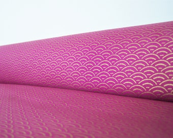 Japanese coupon, gold, and fuchsia: seigaiha, 50 X 45 cm, printed cotton fabric