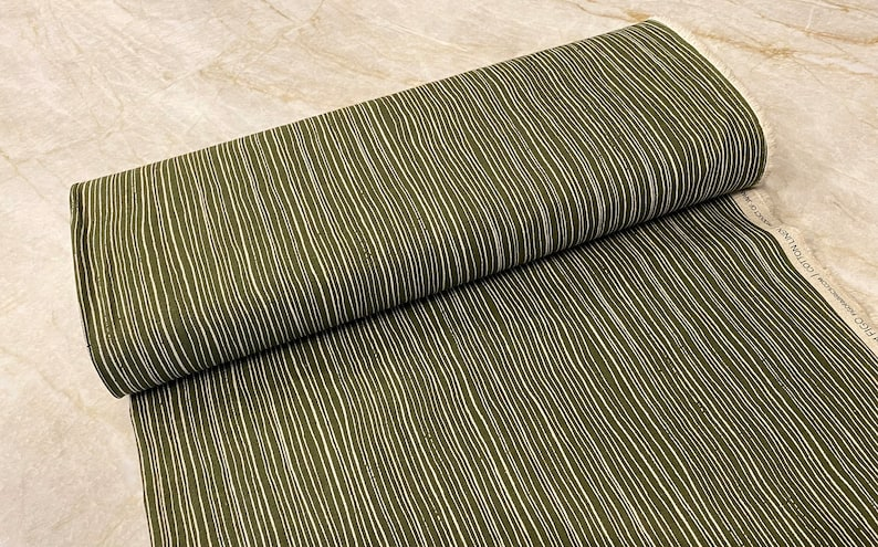 by Ghazal Razavi designed for Figo Fabrics 44 Stripe Green on Natural from Harmony Collection CL90306-94 Half Yard CottonLinen Canvas