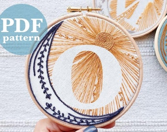 """Celestial Design Letter """"O""""  Hand Embroidery Pattern / Digital PDF Download / Instant Download Initial Hand Embroidery/Detailed DIY Hoop Art"""