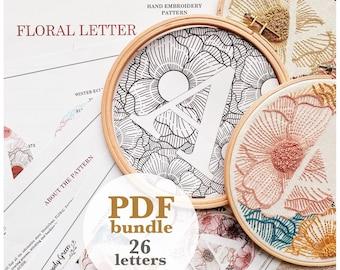 Floral Alphabet Bundle Hand Embroidery Pattern / Digital PDF Download / Instant Download Floral Hand Embroidery /Detailed DIY Monogram Hoop