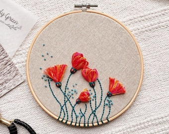 Spring Flowers Hand Embroidery Hoop / Modern Hand Embroidery Wall Art / Hand stitched Gift Wall Decor / Colourful Floral Hoop