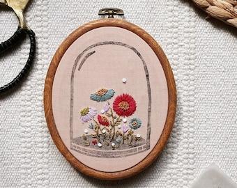 Fall Flower Terrarium Hoop Art / Linocut and Hand Embroidery design wall art / Hand stitched Gift Wall Art / Botanical Design Floral Hoop