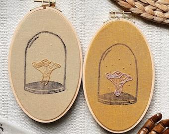 Chanterelle Mushroom Terrarium Hoop Art / Linocut and Hand Embroidery design Wall Art / Hand stitched Gift / Botanical Design Hoop