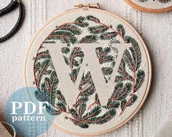 "Letter ""W"" Winter Forest Design Hand Embroidery Pattern / Digital PDF Download  /Detailed DIY Monogram / Christmas Botanical Hoop Art"