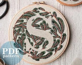 """Letter """"S"""" Winter Forest Design Hand Embroidery Pattern / Digital PDF Download  /Detailed DIY Monogram / Christmas Botanical Hoop Art"""