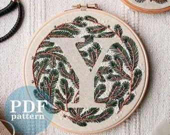 """Letter """"Y"""" Winter Forest Design Hand Embroidery Pattern / Digital PDF Download  /Detailed DIY Monogram / Christmas Botanical Hoop Art"""