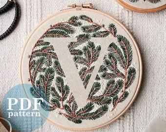 """Letter """"V"""" Winter Forest Design Hand Embroidery Pattern / Digital PDF Download  /Detailed DIY Monogram / Christmas Botanical Hoop Art"""
