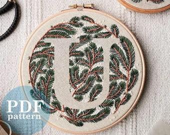 """Letter """"U"""" Winter Forest Design Hand Embroidery Pattern / Digital PDF Download  /Detailed DIY Monogram / Christmas Botanical Hoop Art"""