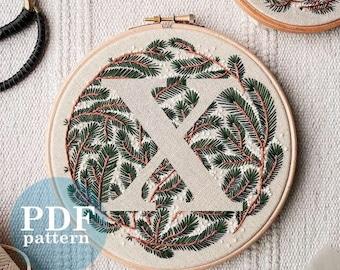 "Letter ""X"" Winter Forest Design Hand Embroidery Pattern / Digital PDF Download  /Detailed DIY Monogram / Christmas Botanical Hoop Art"
