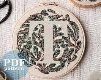 """Letter """"T"""" Winter Forest Design Hand Embroidery Pattern / Digital PDF Download  /Detailed DIY Monogram / Christmas Botanical Hoop Art"""