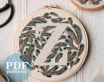 """Letter """"Z"""" Winter Forest Design Hand Embroidery Pattern / Digital PDF Download  /Detailed DIY Monogram / Christmas Botanical Hoop Art"""