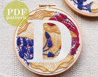 "Whimsical Mushroom Letter ""D"" Design Hand Embroidery Pattern / Instant Digital PDF Download / Beginner Hand Embroidery Detailed DIY Hoop Art"