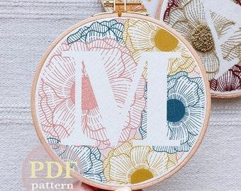 "Floral Letter ""M""  Hand Embroidery Pattern / Digital PDF Download / Instant Download Floral Hand Embroidery /Detailed DIY Monogram Hoop Art"