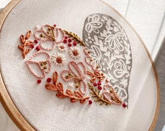 Floral Heart Design Hoop Art / Linocut and Hand Embroidery design Wall Art / Hand stitched Gift / Botanical Design  Hoop