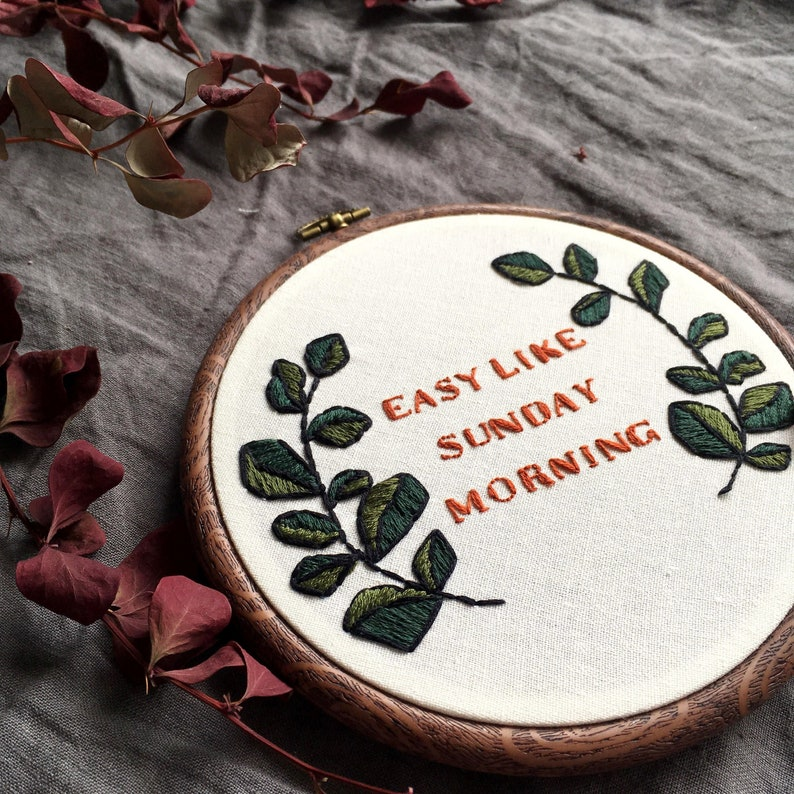 Easy Like Sunday Morning Hand Embroidery Hoop Art Modern Etsy