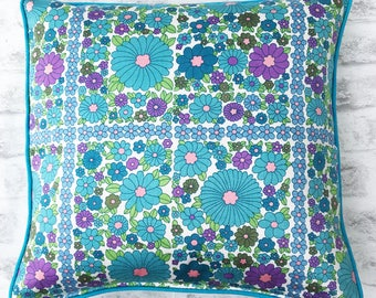 Vintage 1960s Floral Piped Cushion turquoise, mauve, retro
