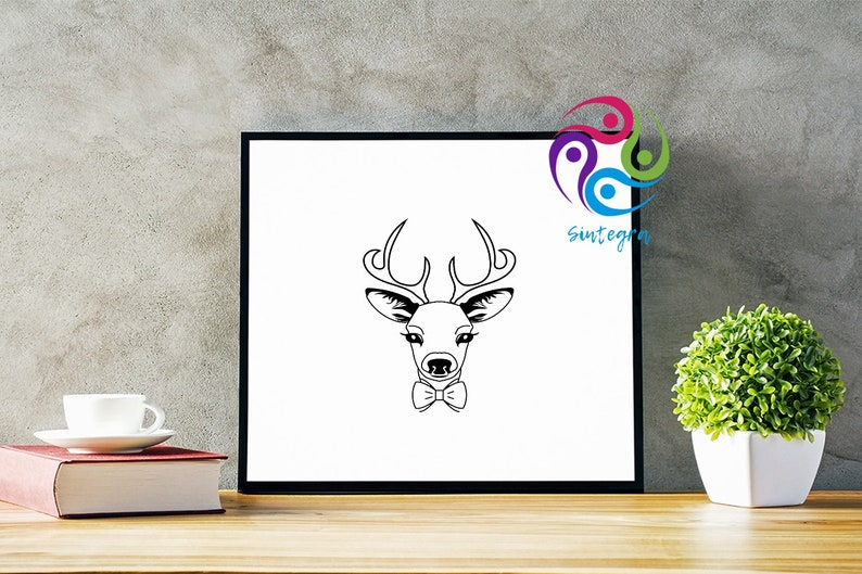 Adorable Deer Dxf Gorgeous Deer With Bowtie svg Cute Deer With Bowtie Deer With Bowtie svg Cute Antlers Deer With Bowtie Svg File