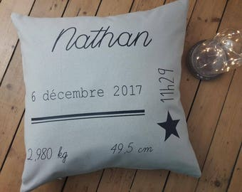 Customizable birth cushion, Navy Blue and gray, boy, birthday gift, souvenir of a special day!