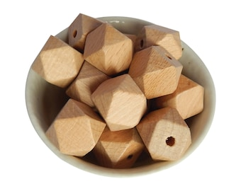 20mm Beech Wooden Bead | Hexagon | Geometric | European Beech | Natural Wood | Eco-Friendly | Unfinished | Non-Toxic