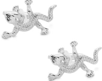 S0122 Beardie Cufflinks Juvenile Bearded Dragon Cufflinks Lizard Cufflink Pair Lifetime Guarantee Bearded Dragon Cuff Links