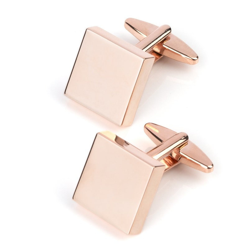 Rose Gold Square Engravable Cufflinks