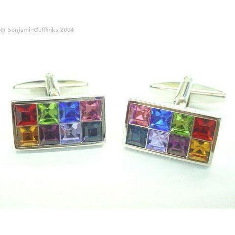 Rainbow Crystal Cufflinks