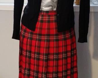 Red Tartan skirt, plaid skirt, midi lenght