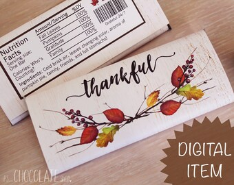 Thanksgiving Candy Bar Wrapper - Instant Download - leaves -thankful - Thanksgiving Favor - hostess gift