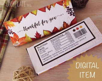 Thanksgiving Candy Bar Wrapper - Instant Download - thankful for you - editable PDF - Thanksgiving Favor - hostess gift