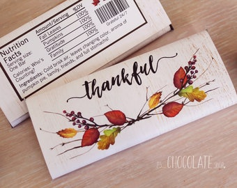 Thanksgiving Candy Bar Wrapper - thankful -fall leaves - fall treats - Thanksgiving Favor - hostess gift