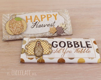 Thanksgiving Candy Bar Wrapper - Instant Download - gobble -happy harvest - PDF - Thanksgiving Favor - hostess gift