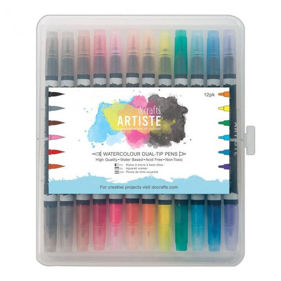 Docrafts Artiste Watercolour Dual-tip marker Pens /& Caddy 36 pk Brush /& Fine tip