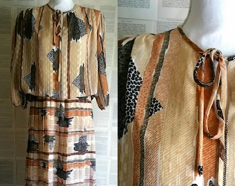 Vintage Brown Pleated Dress 1970s-1980s - Size 14