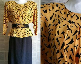 Vintage Black & Yellow 80s Dress - Size 8-10