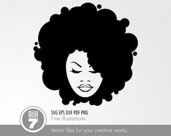 Afro Girl 783-B891 Stencil Silhouette
