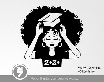 Afro Graduation Svg Etsy