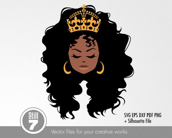 African American Queen 2 Black Woman Svg Cutting File Etsy