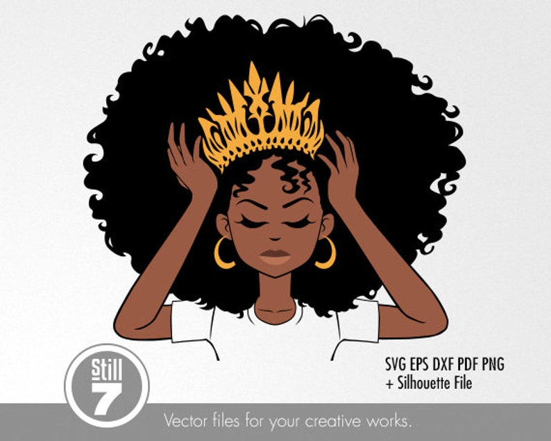 Download African American Queen Black Woman svg cutting file eps | Etsy