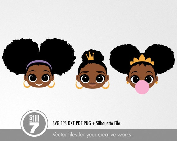 Download 3 African American Little Girls svg cutting files eps dxf ...