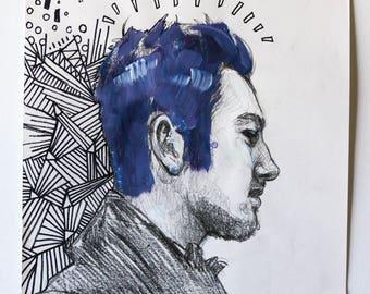 A3 Contemporary Hand Drawn Doodle Portrait Fashion Illustration