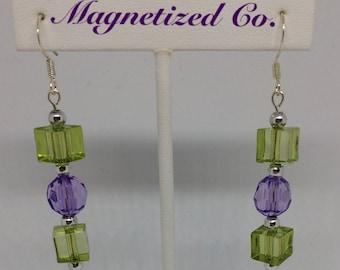 Green/Purple Dangled Earrings